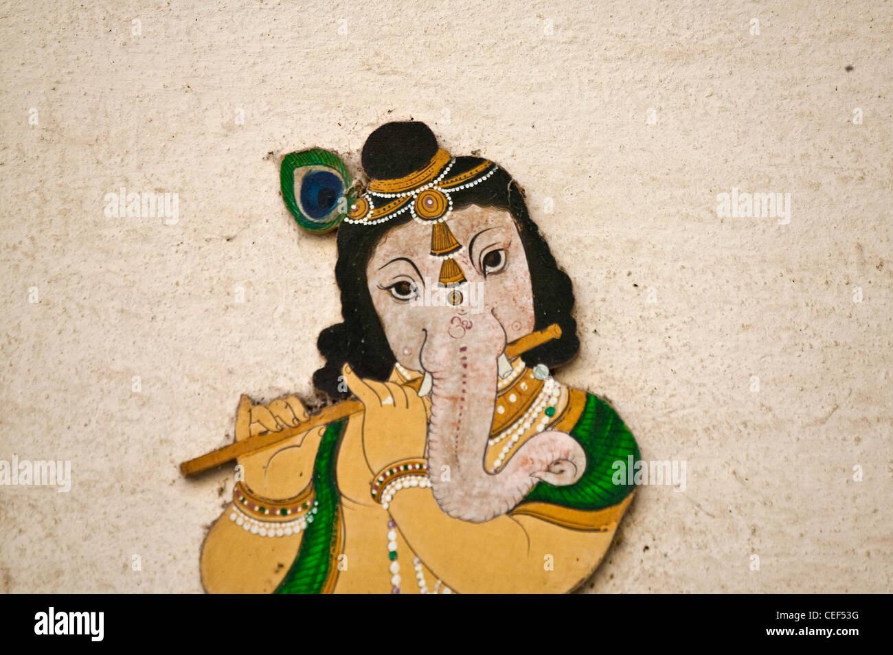 Il murale raffigurante Ganesha, una divinità Indù, all'interno di Palazzo di Città, Udaipur, Immagini Stock