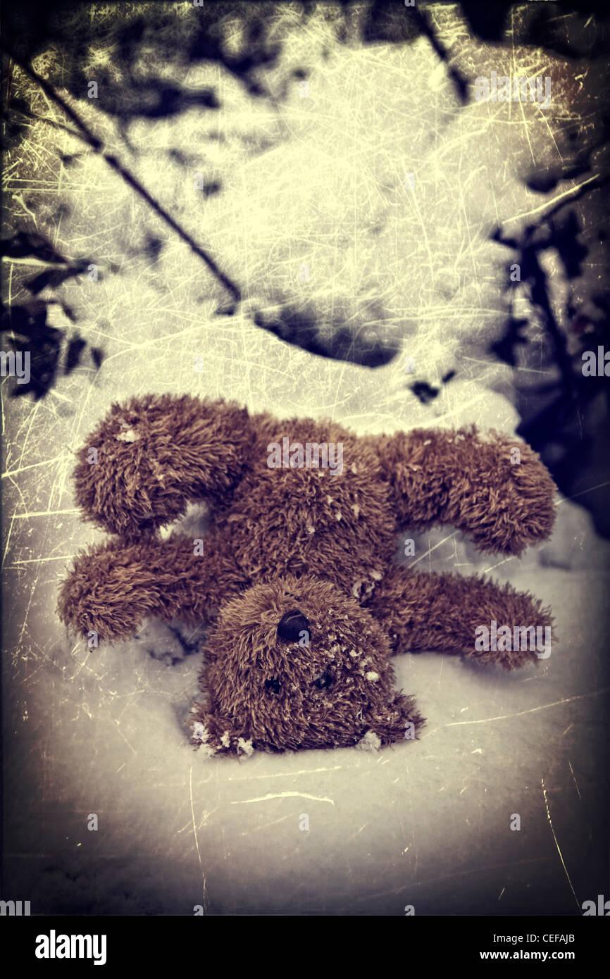 Hai dimenticato un orsacchiotto nella neve Foto Stock