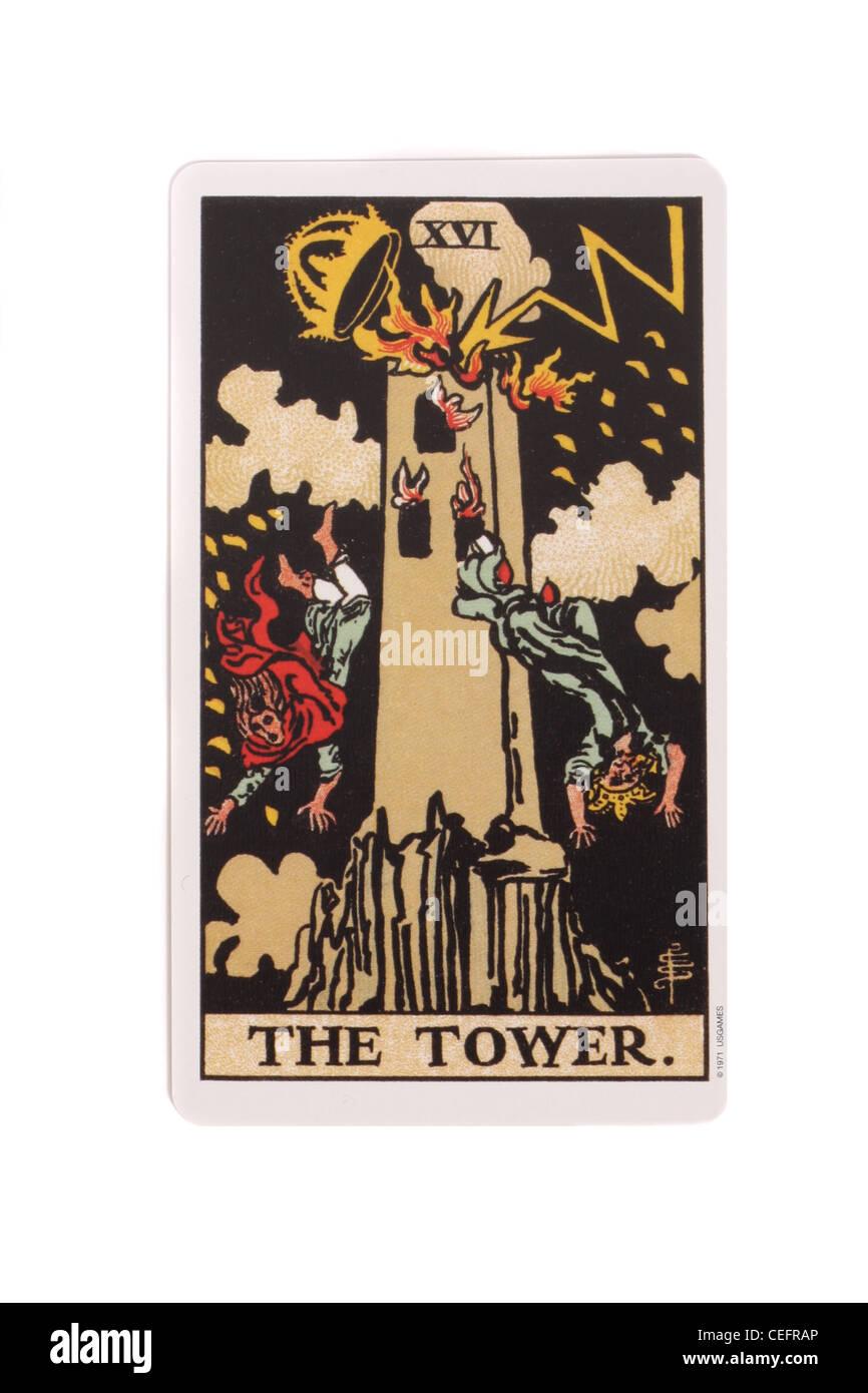 La torre carta da un tradizionale pacchetto di tarocchi. Immagini Stock