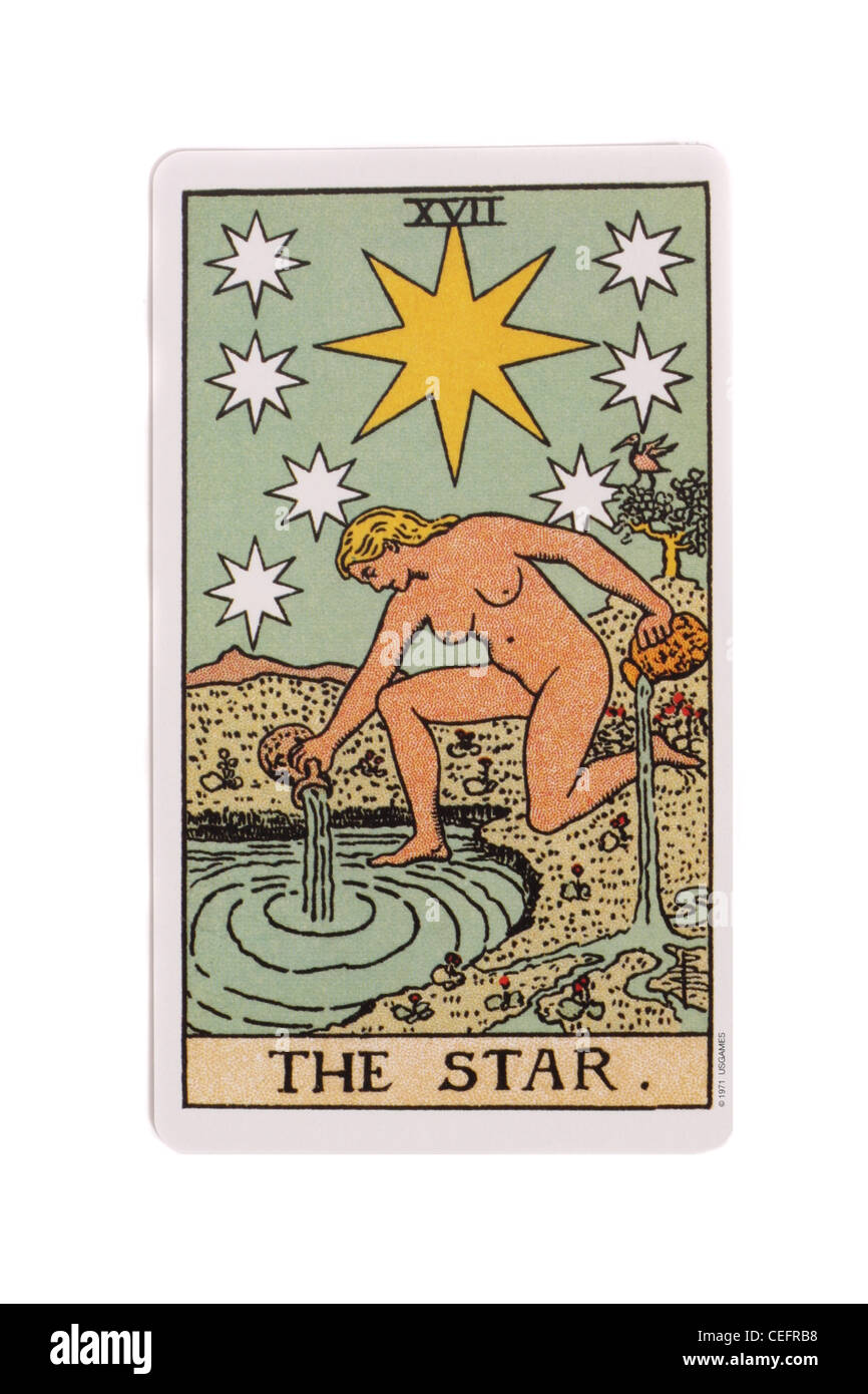 La star card a partire da un tradizionale tarocchi pack. Immagini Stock
