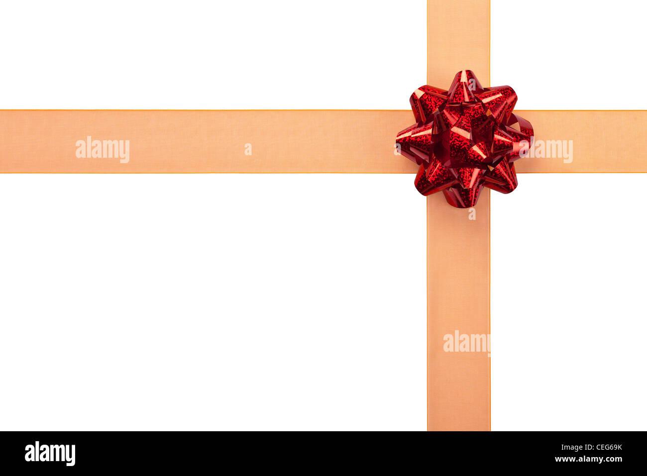 Nastro arancione con il rosso vivace Bow confezione regalo Immagini Stock