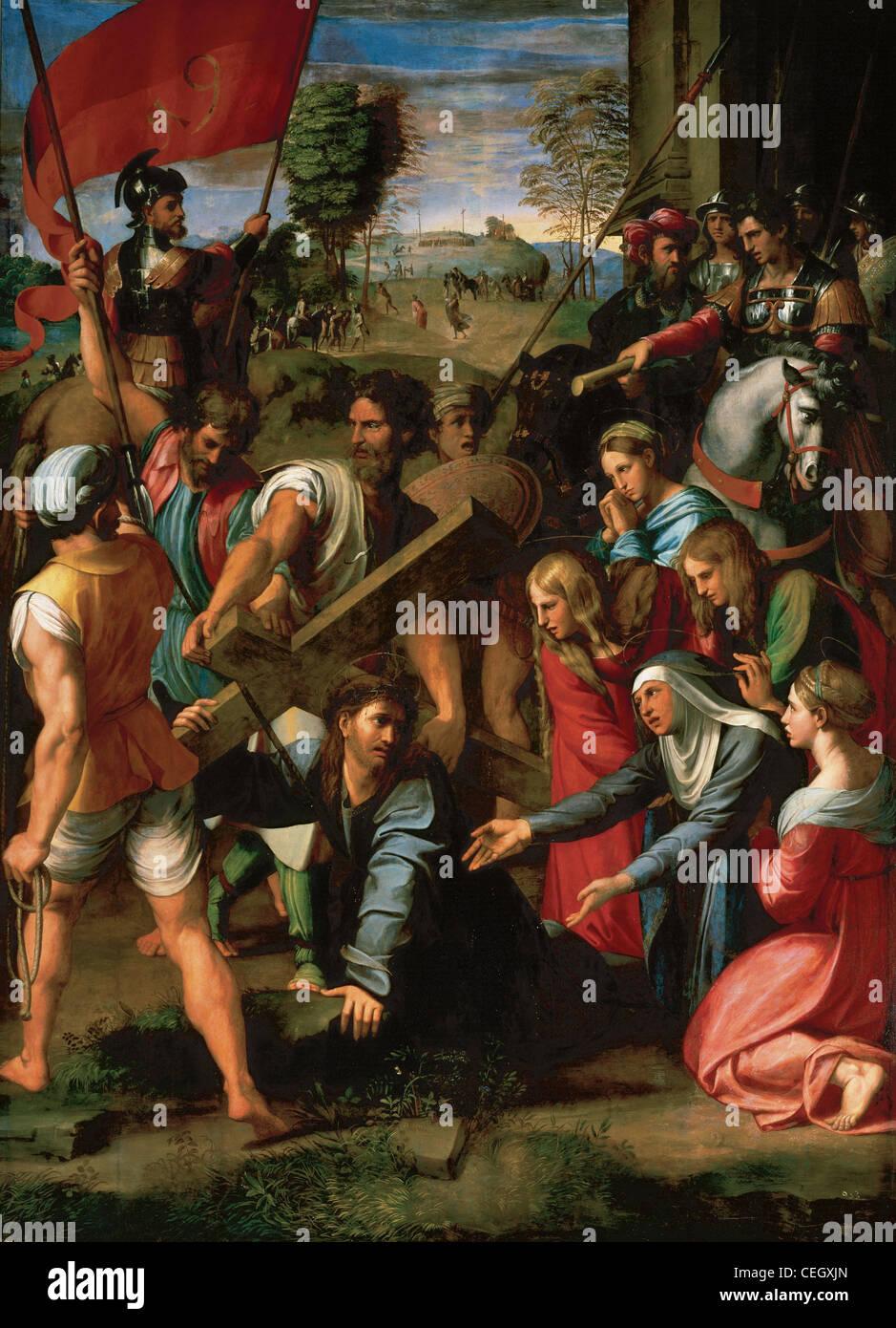 Raphael (1483-1520). La caduta di Cristo sulla via del Calvario (1514-1516). Olio su tavola trasferita su tela. Immagini Stock