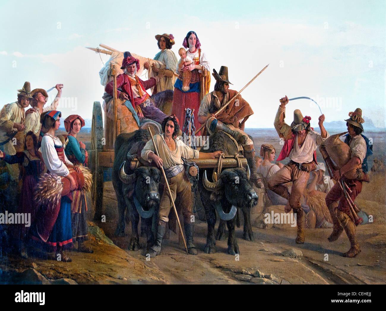 L'arrivée des moissonneurs dans les marais Pontins 1830 Leopold Robert l arrivo dei mietitori contadini Immagini Stock