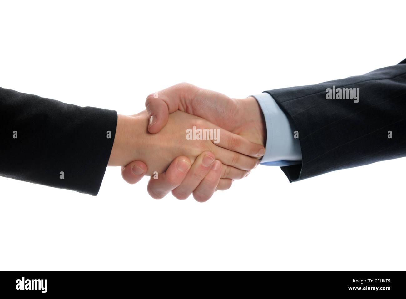 Imprenditrice e imprenditore handshake. Close-up. Isolato su bianco Immagini Stock
