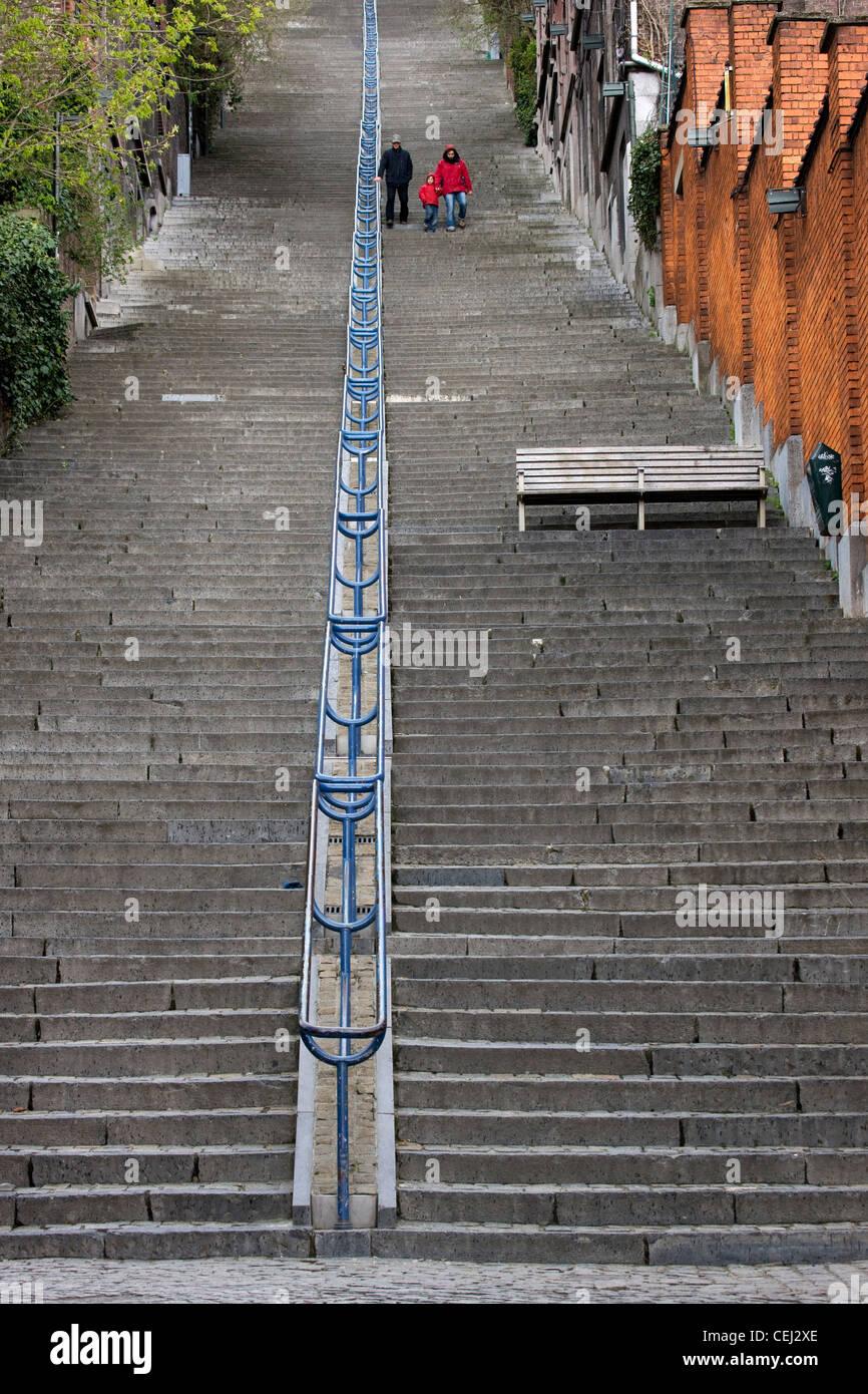 Le scale Montagne de Bueren conta 374 passi, Liegi, Belgio Immagini Stock
