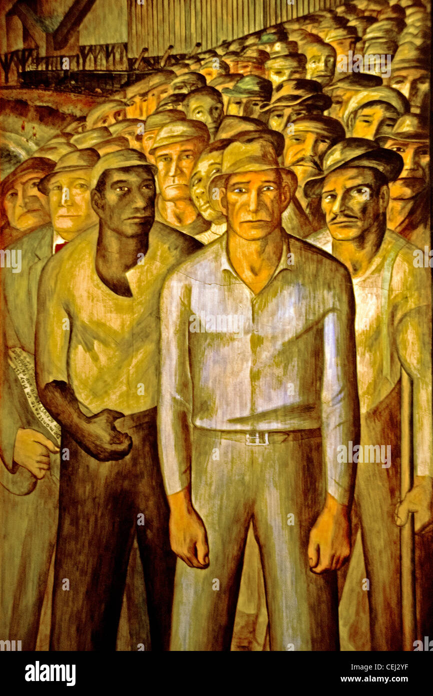 Creato nel 1934 da artista John Langley Howard e raffiguranti Grande Depressione-ser multirazziale disoccupati operai Immagini Stock