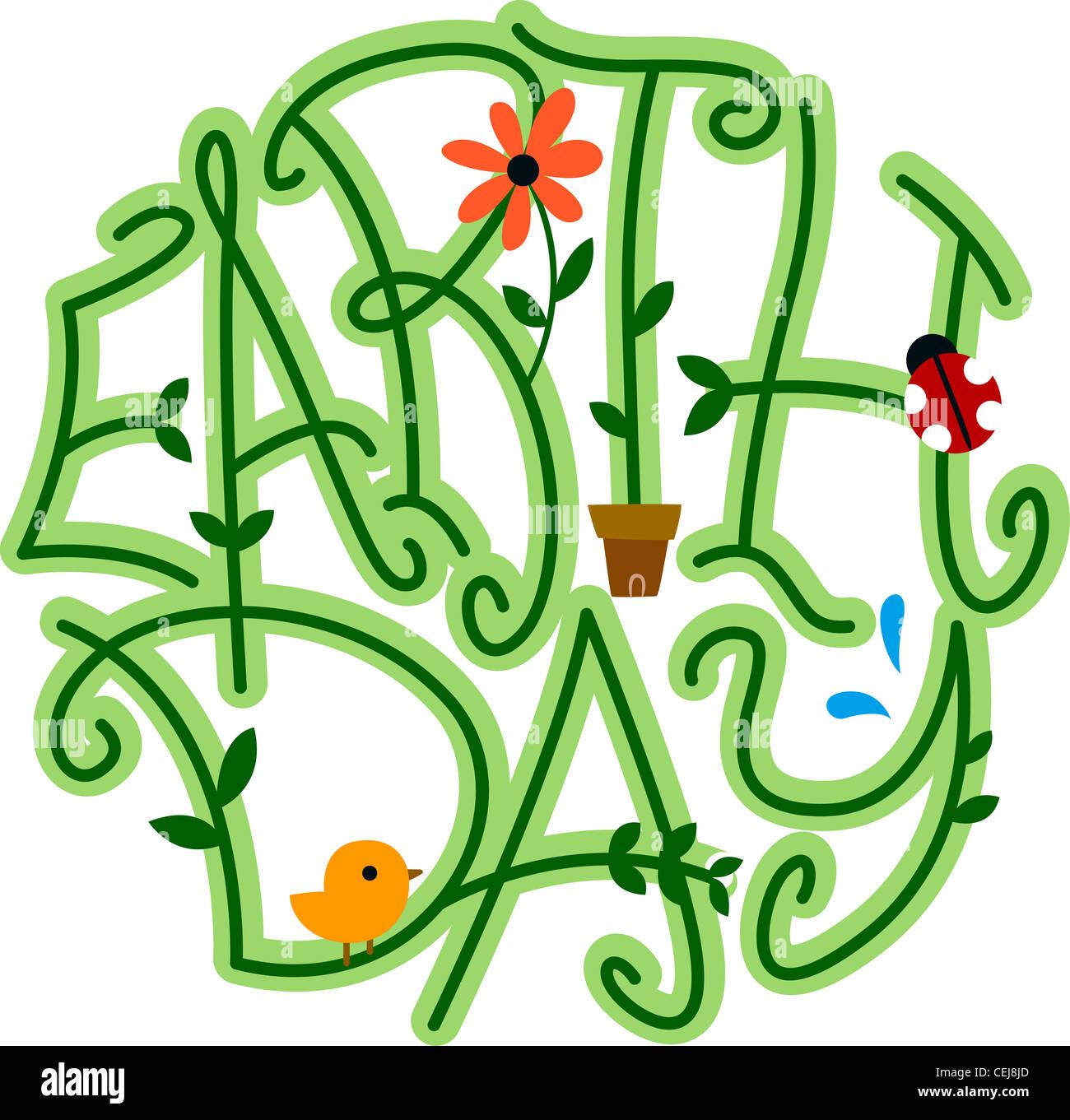 Illustrazione di vitigni formante la parola per la Giornata della Terra Immagini Stock