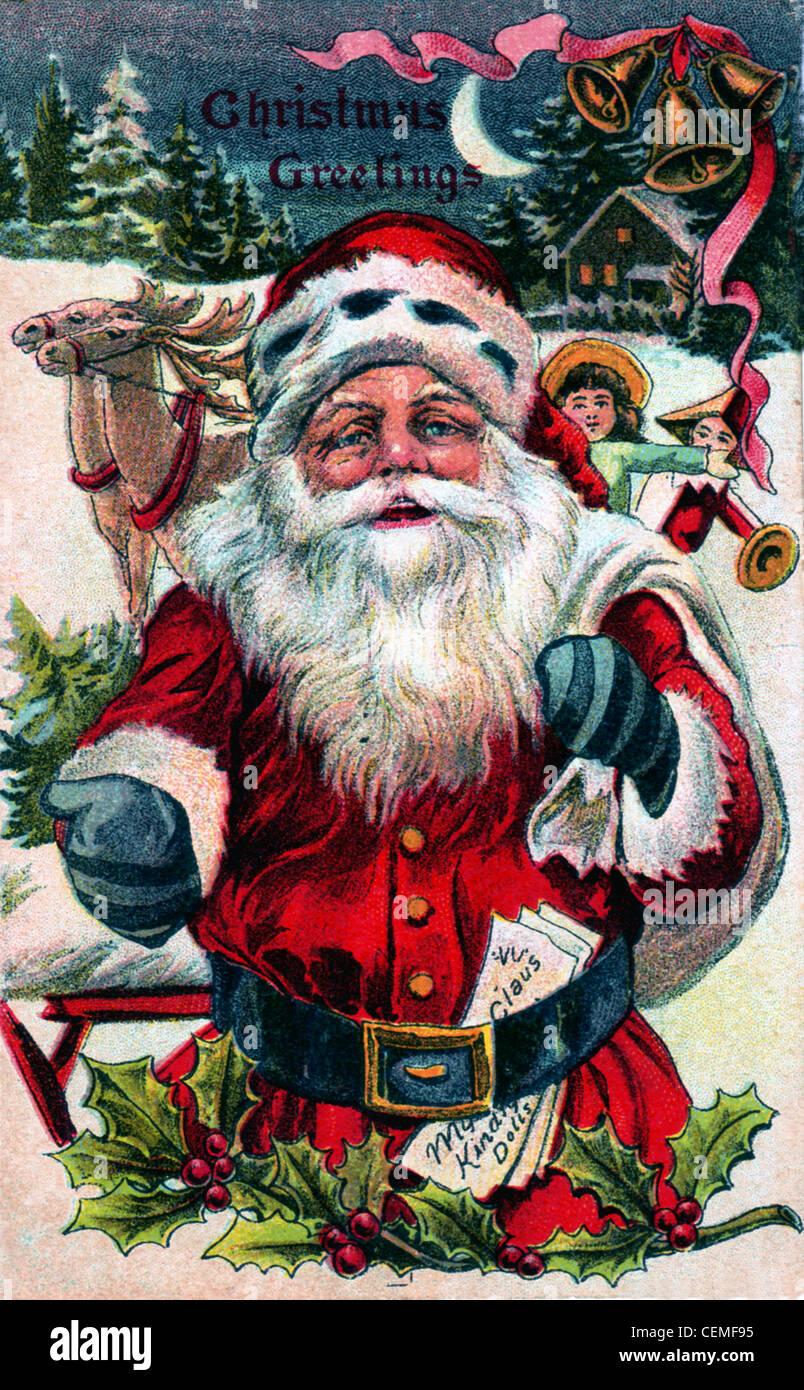 Immagini Babbo Natale Vintage.Una Cartolina Vintage Illustrazione Di Babbo Natale Circa