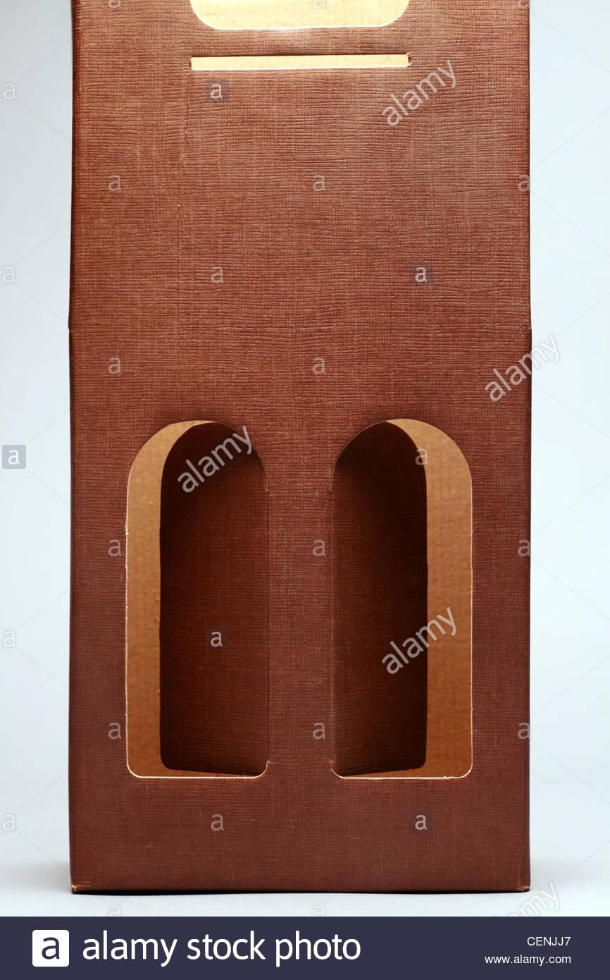 Riporto di cartone di imballaggio per le bottiglie di vino Immagini Stock