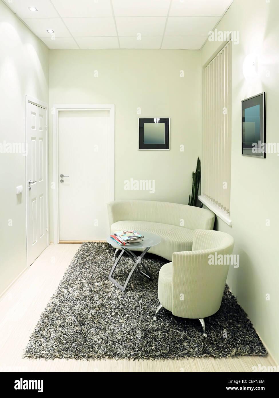 Vuoto accogliente sala di attesa con confortevole arredamento ...