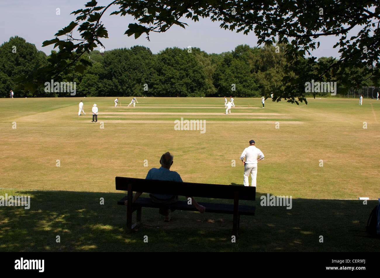 Partita di cricket che viene riprodotto su un villaggio verde. Immagini Stock