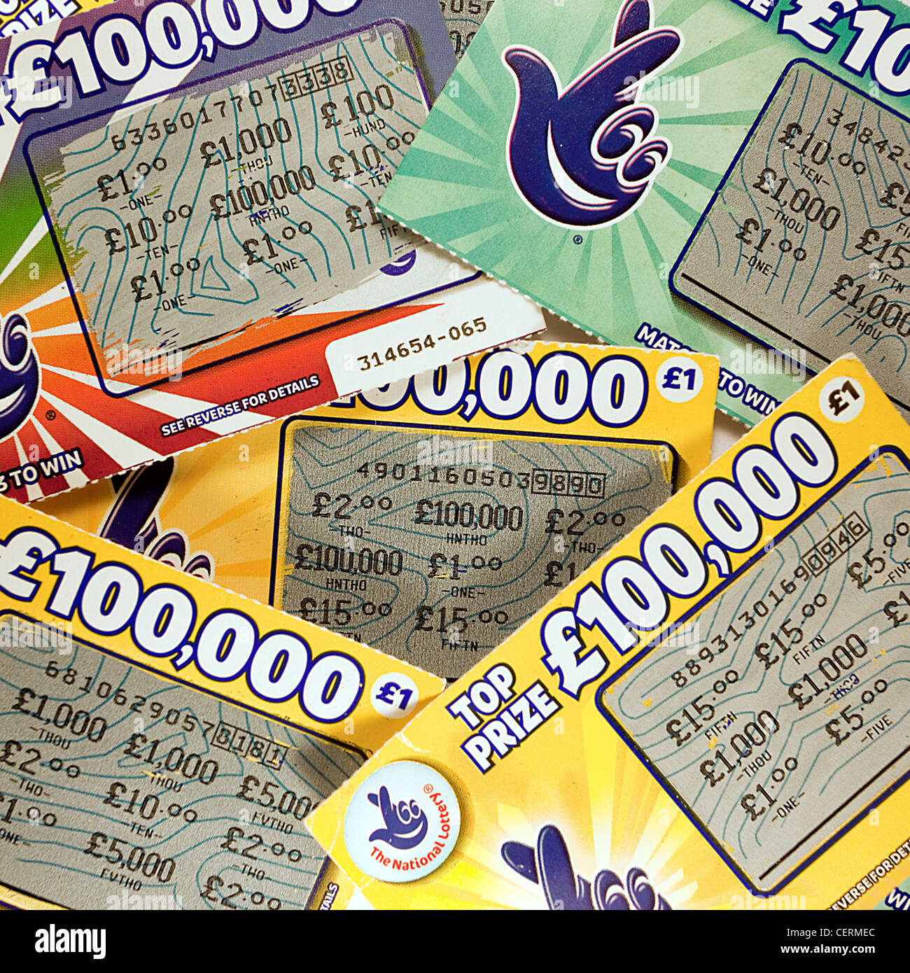 Scratch Card Carte lotteria lotto carte vincenti Immagini Stock