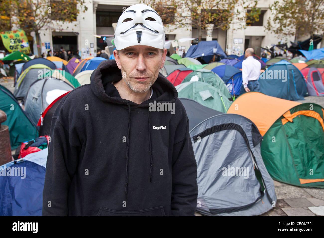 Protester a occupare Londra OSLX protesta. Immagini Stock