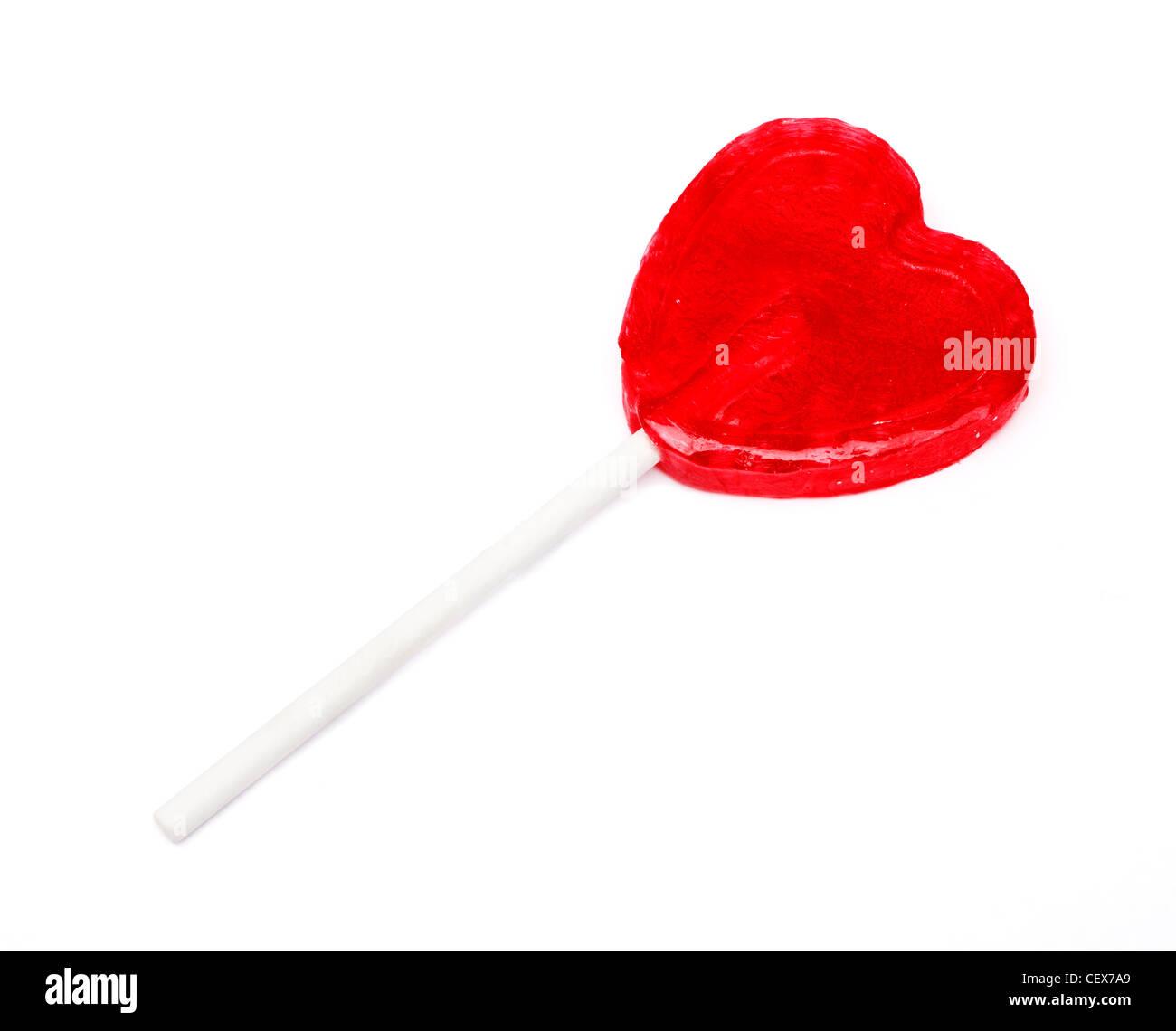 A forma di cuore dolce per lecca-lecca Immagini Stock