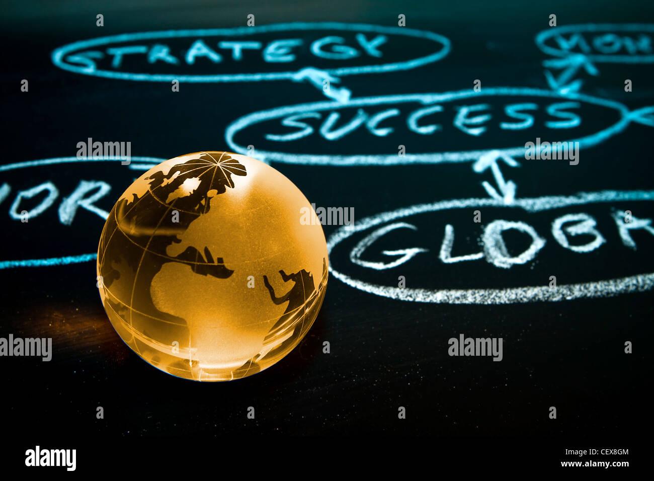 Diagramma di flusso su una scheda di gesso con globo mondo mostra Africa Immagini Stock