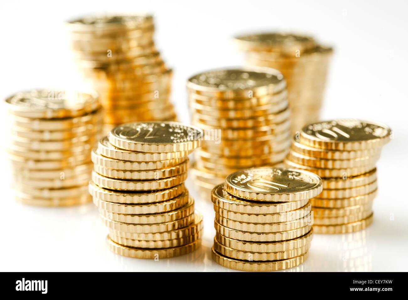monete d'oro Immagini Stock