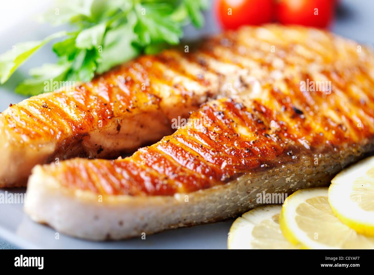 Salmone alla griglia bistecca Immagini Stock