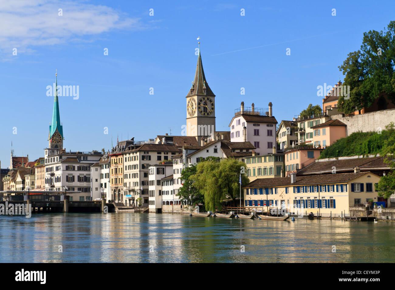 La città di Zurigo, Svizzera Immagini Stock