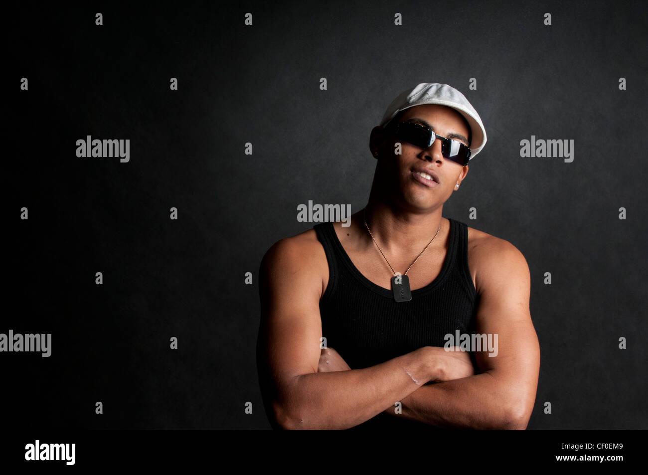 Fresco guardando africano (cubano) giovane Foto Stock