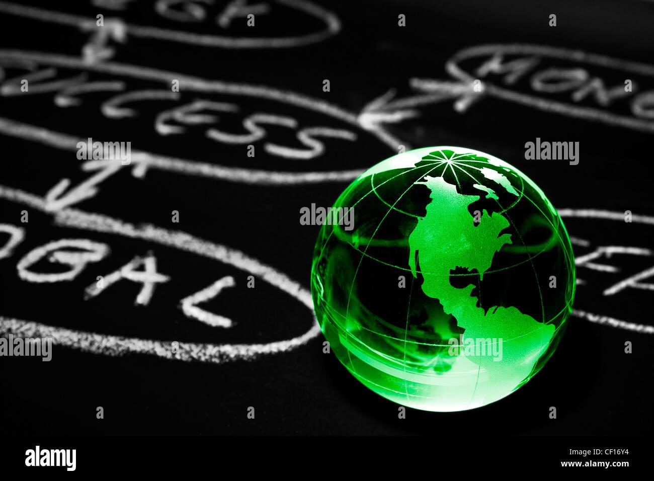 Diagramma di flusso su una scheda di gesso con globo mondo mostra America Immagini Stock