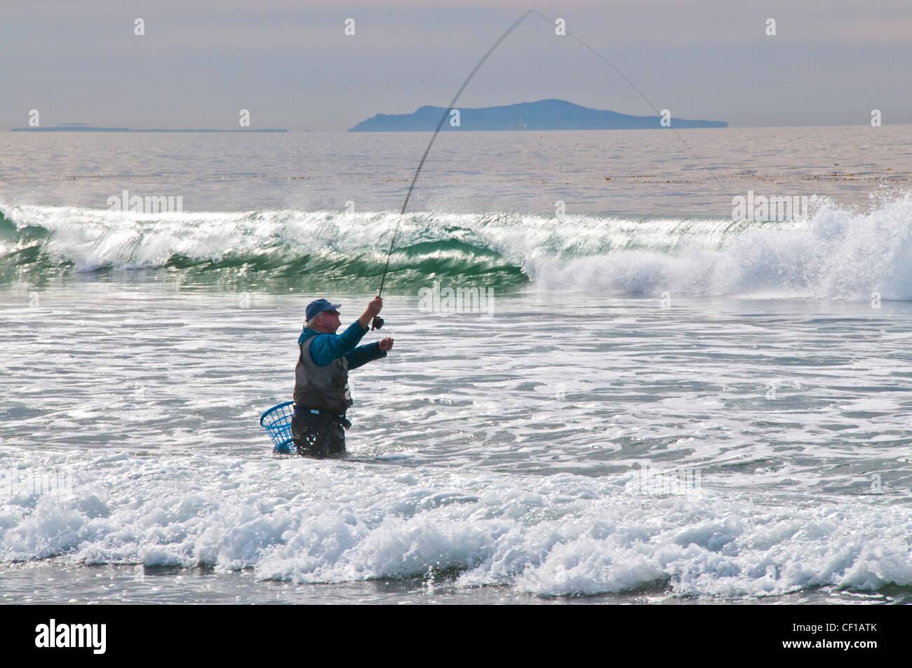 pescatore di spiaggia Immagini Stock