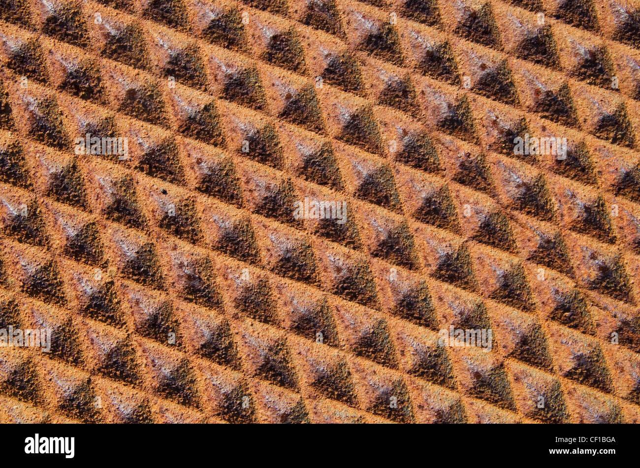 Sfondo di ferro arrugginito in metallo con diamante pattern texture Immagini Stock