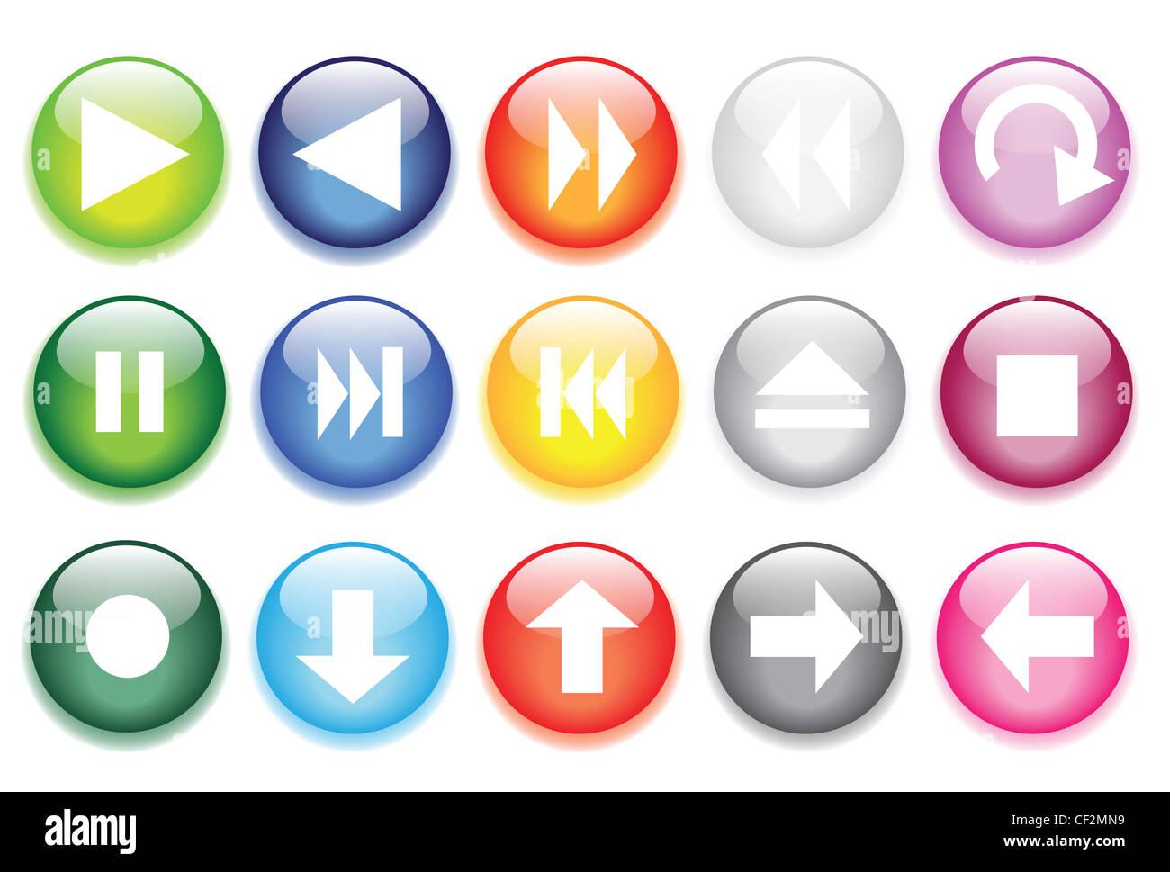 Illustrazioni vettoriali di vetro lucido pulsanti per le icone. Immagini Stock
