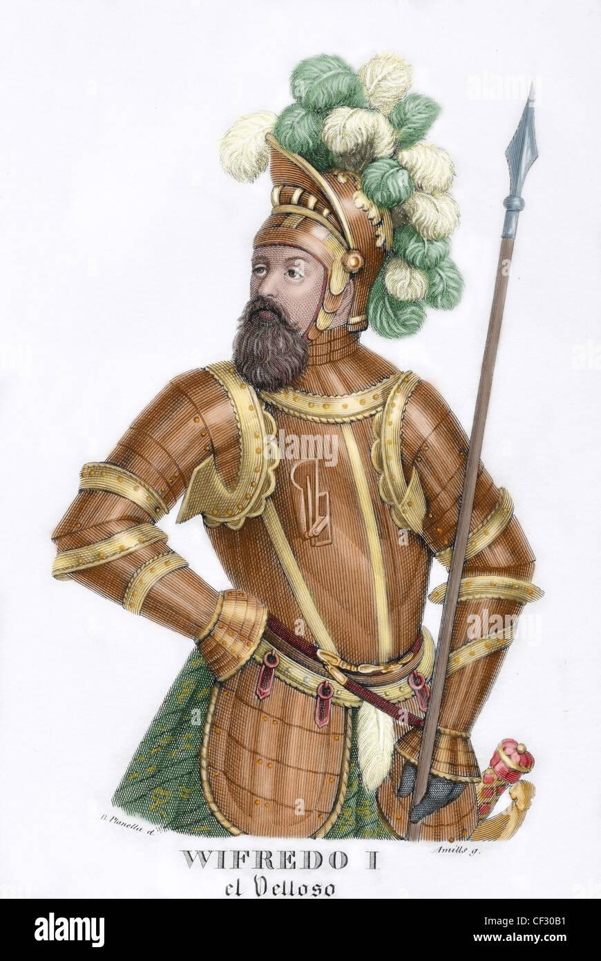 """Wilfred ho l'irsuto (840-897). 'I conteggi di Barcellona riscattati,"""", scritto da Prospero Bofarull Immagini Stock"""