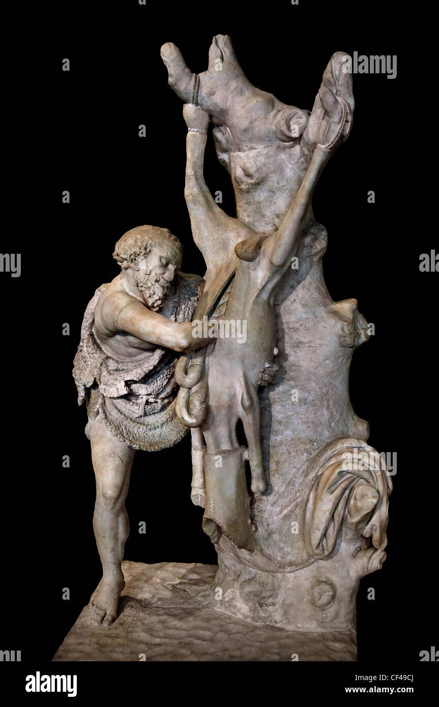 Il vecchio uomo scuoiamento Flayer scuoiatura rustico Museo Louvre Roman 1 - 2 centesimi la copia dell'annuncio Immagini Stock