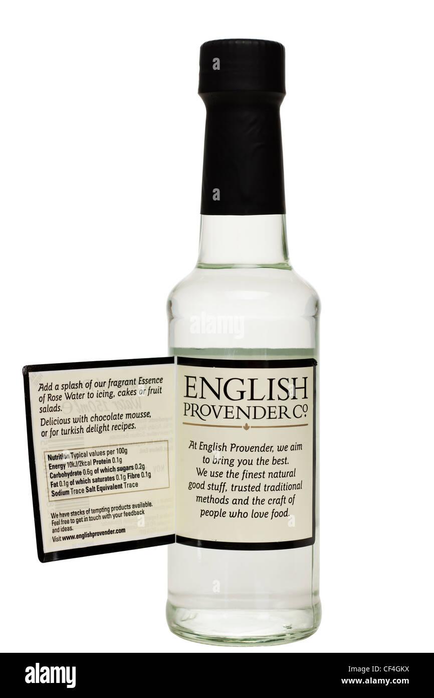 Bottiglia di inglese foraggio Co essenza di acqua di rose Immagini Stock