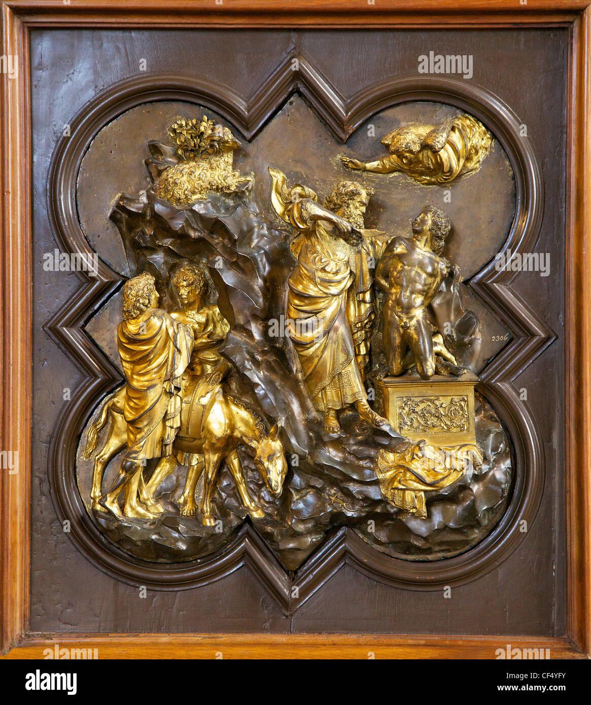 Abramo in procinto di immolare Isacco, pannello di bronzo da Lorenzo Ghiberti, battistero porte pannello di concorrenza, Immagini Stock