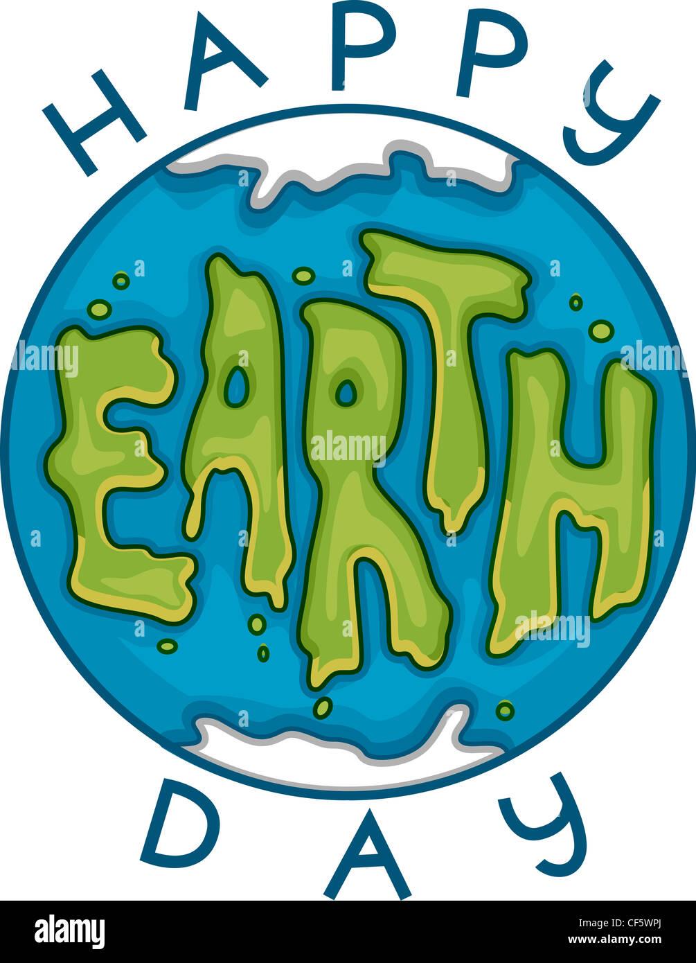 Illustrazione per celebrare la Giornata della Terra Immagini Stock