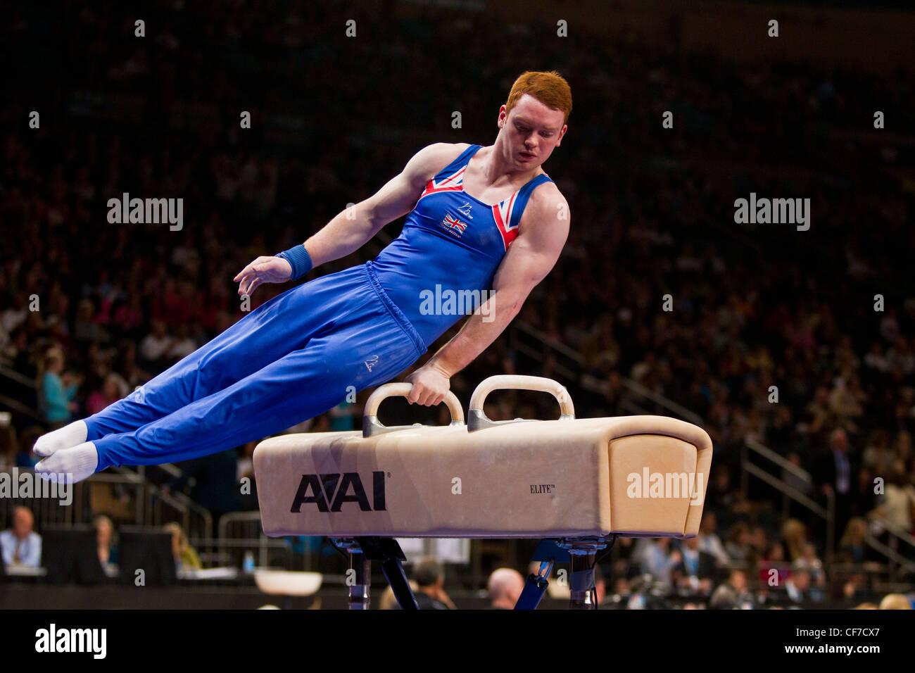 Daniel Purvis (GBR) compete nel cavallo evento al 2012 American Cup ginnastica Immagini Stock