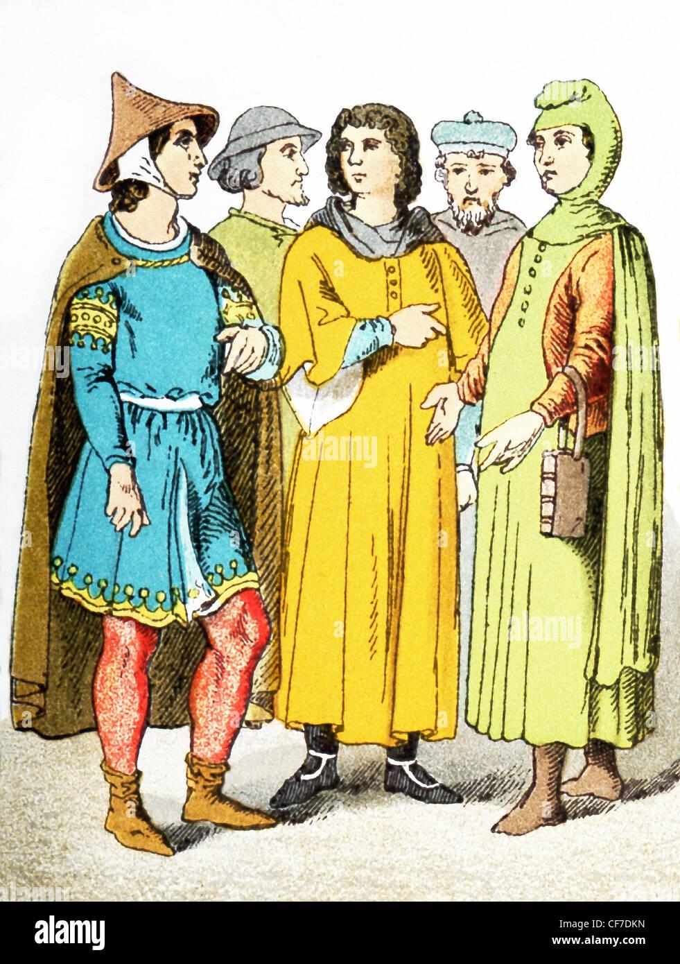 Le figure nell'illustrazione rappresentano cinque cittadini francesi circa A.D. 1200. L'illustrazione risale Immagini Stock