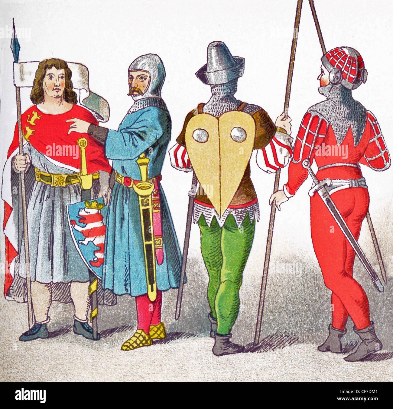 Le figure rappresentano i tedeschi da1350 a 1400 (da sinistra a destra): conteggio di Thuringen, cavaliere battaglia Immagini Stock