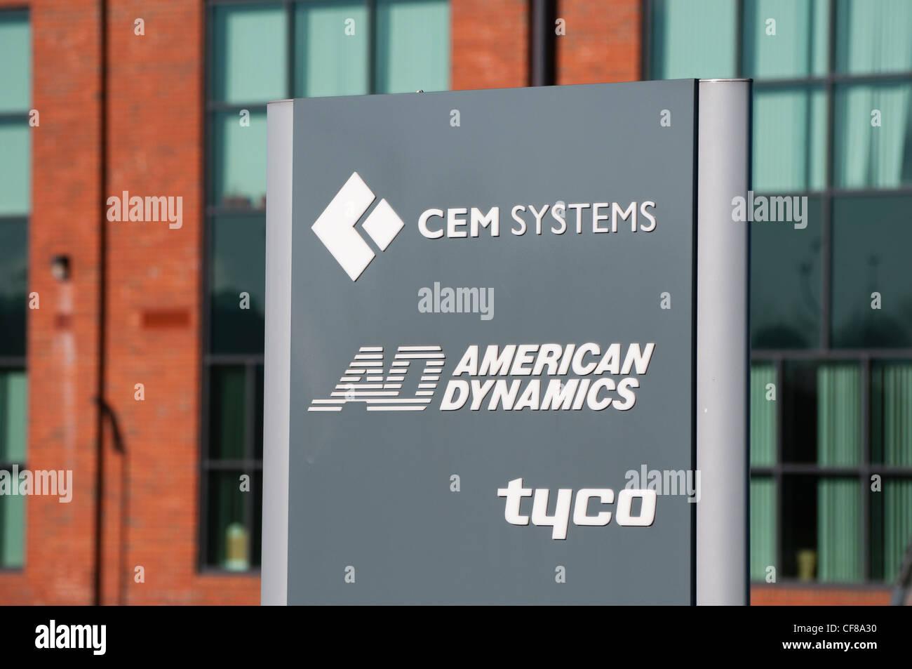Segno per i sistemi CEM, American Dynamics e Tyco Immagini Stock