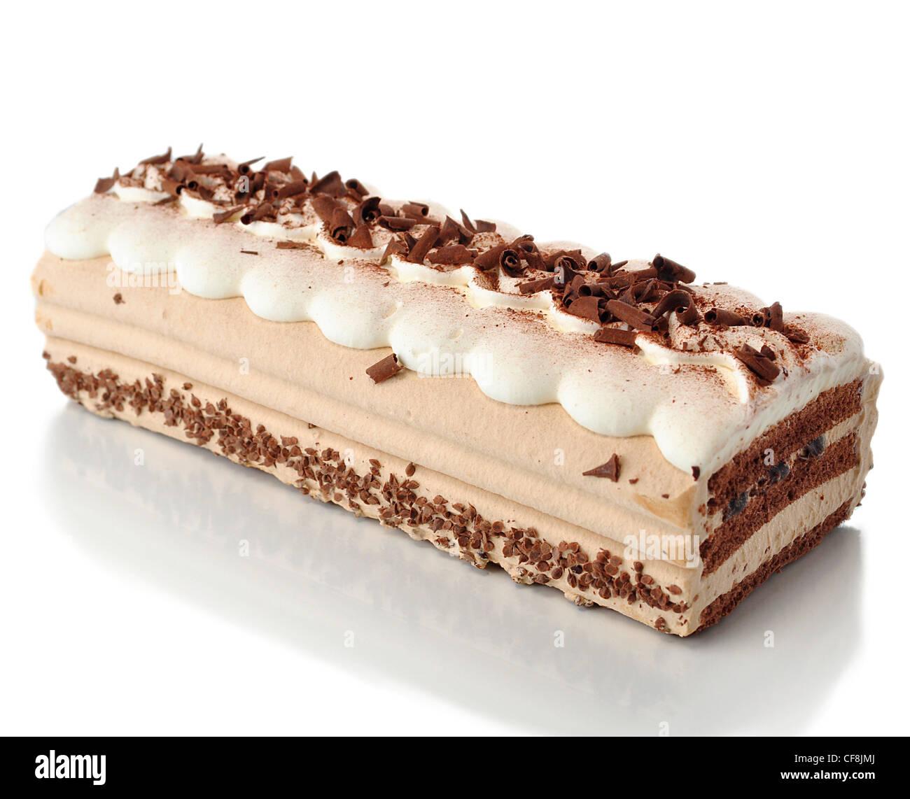 Crema cappuccino la torta su sfondo bianco Immagini Stock
