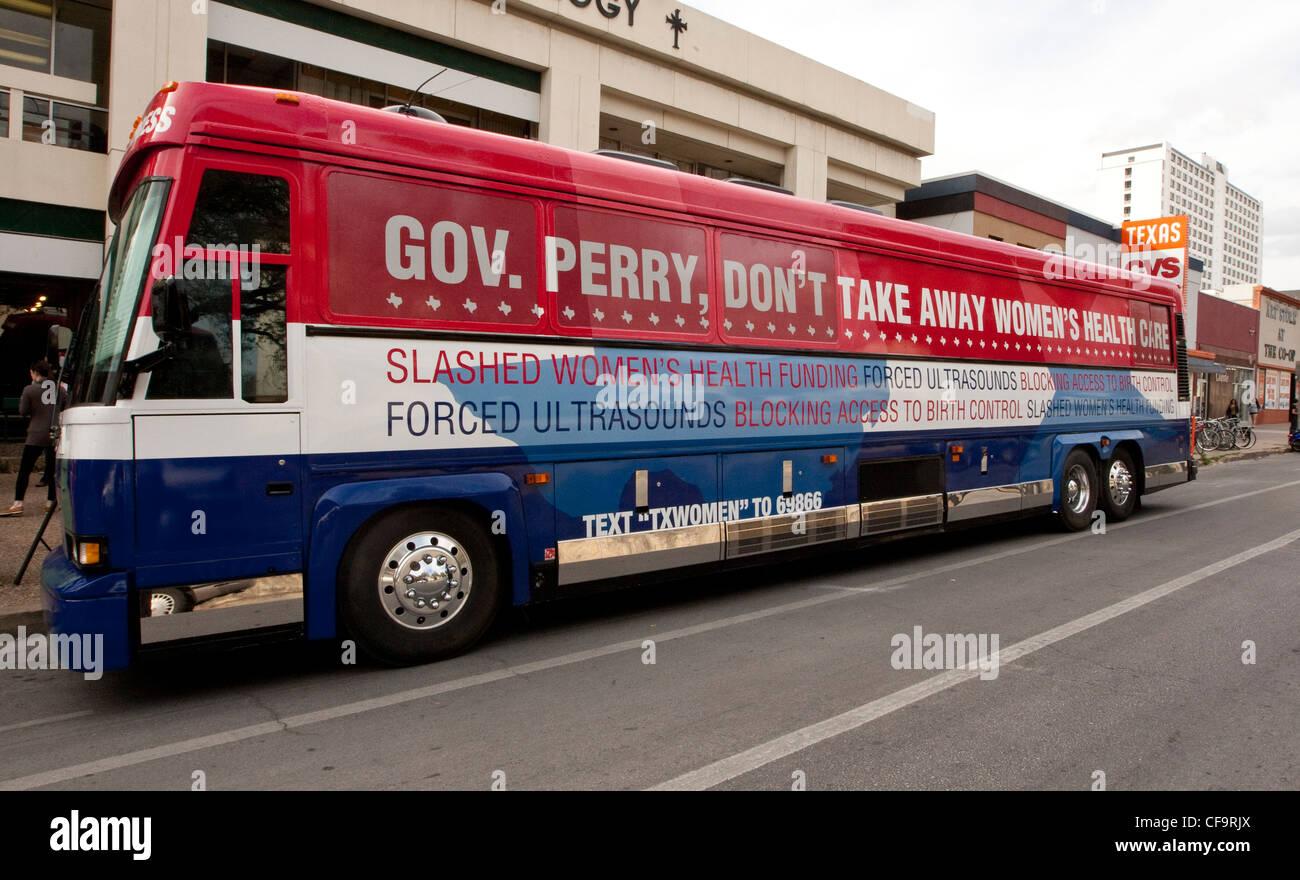 """Planned Parenthood """"non trafficare con Texas le donne"""" tour bus. L'organizzazione sensibilizza i tagli Immagini Stock"""