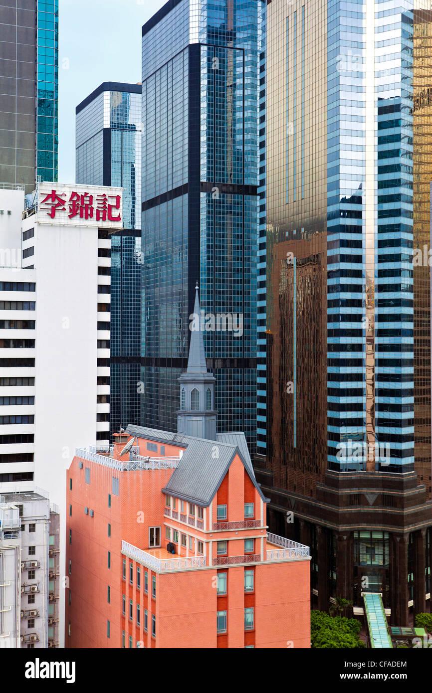 Edifici alti a Wan Chai, Isola di Hong Kong, Hong Kong, Cina Immagini Stock