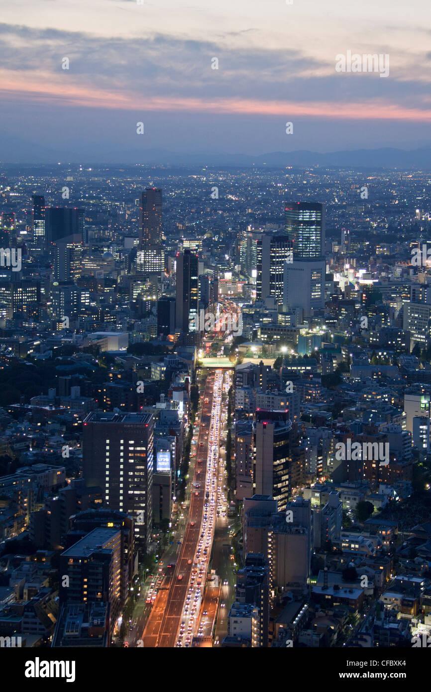 Giappone, Asia, Tokyo, città, Shuto Expressway, Shibuya, tramonto, architettura, grandi edifici, city e il Immagini Stock
