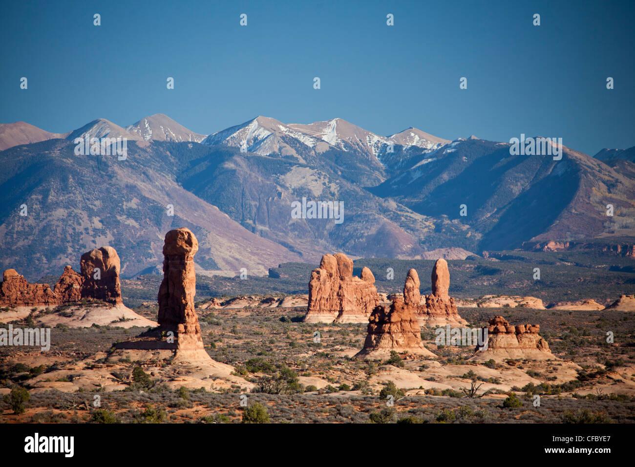 Stati Uniti d'America, Stati Uniti, America, Utah, archi, Parco Nazionale, La Sal, montagne, avventura, secco, Immagini Stock