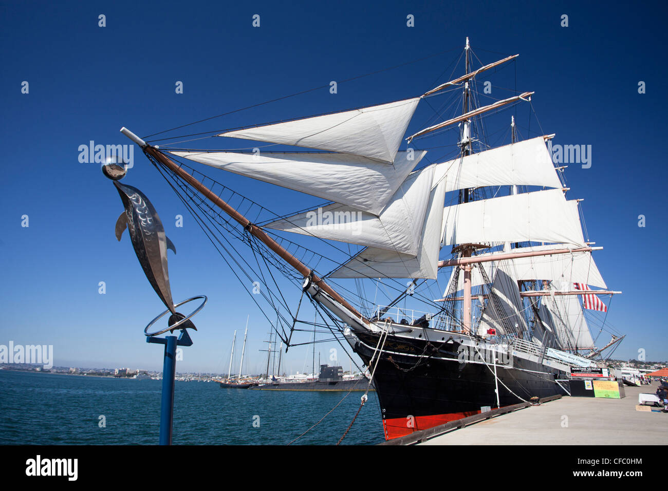 Stati Uniti d'America, Stati Uniti, America, California, San Diego, città museo marittimo, barca a vela, la stella Foto Stock