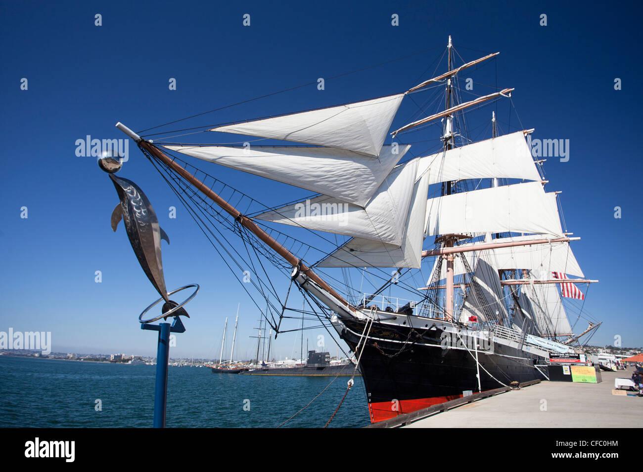 Stati Uniti d'America, Stati Uniti, America, California, San Diego, città museo marittimo, barca a vela, Immagini Stock