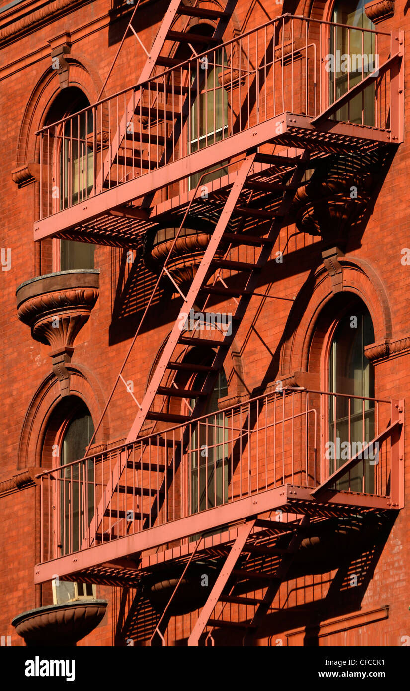Via di Fuga in caso di incendi, Tribeca, Manhattan, New York New York Foto Stock