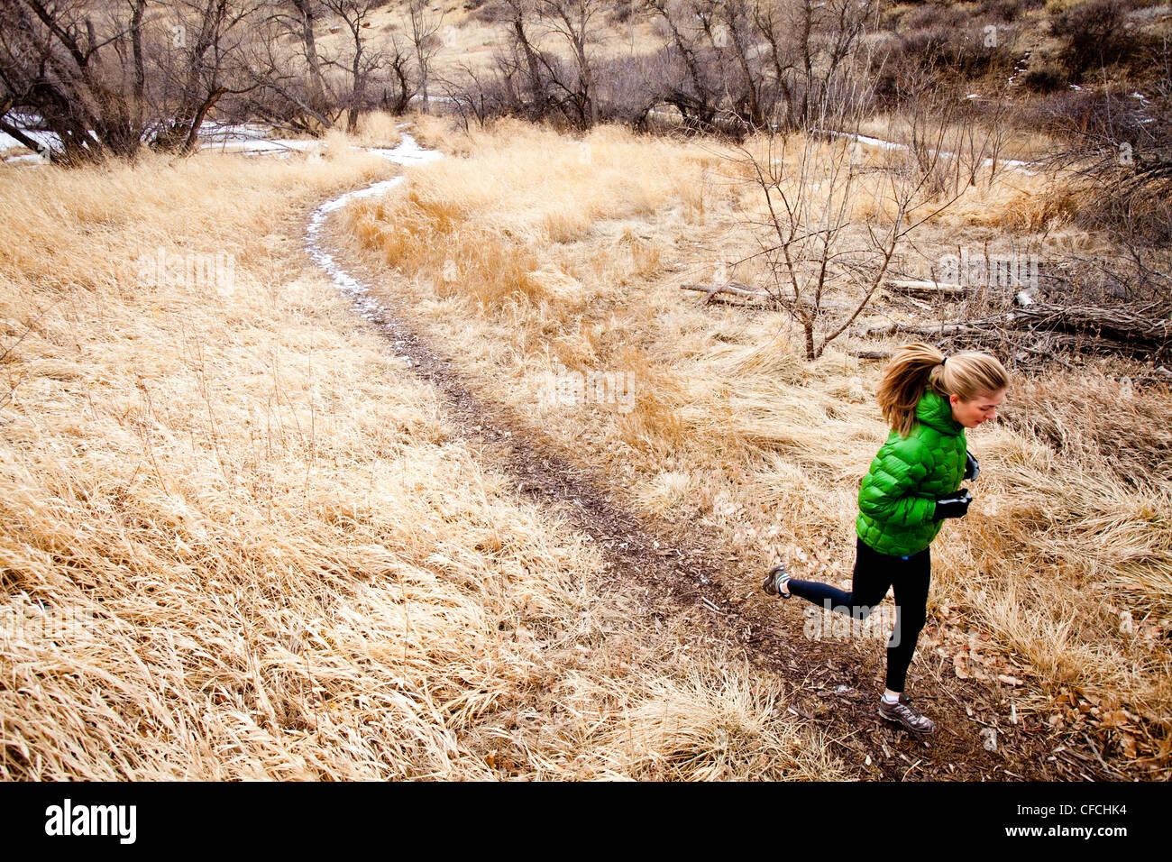 Una giovane donna corre un sentiero verso il basso attraverso l'erba Morta appena a nord di Dixon serbatoio, Immagini Stock