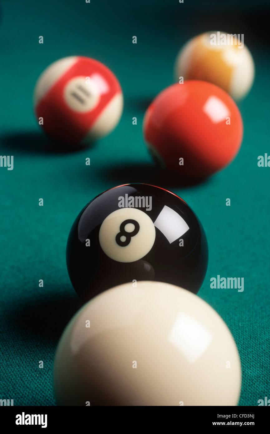 Dietro la palla otto concetto, British Columbia, Canada. Immagini Stock