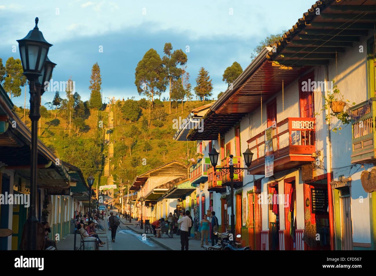 Case colorate, Salento, Colombia, Sud America Immagini Stock