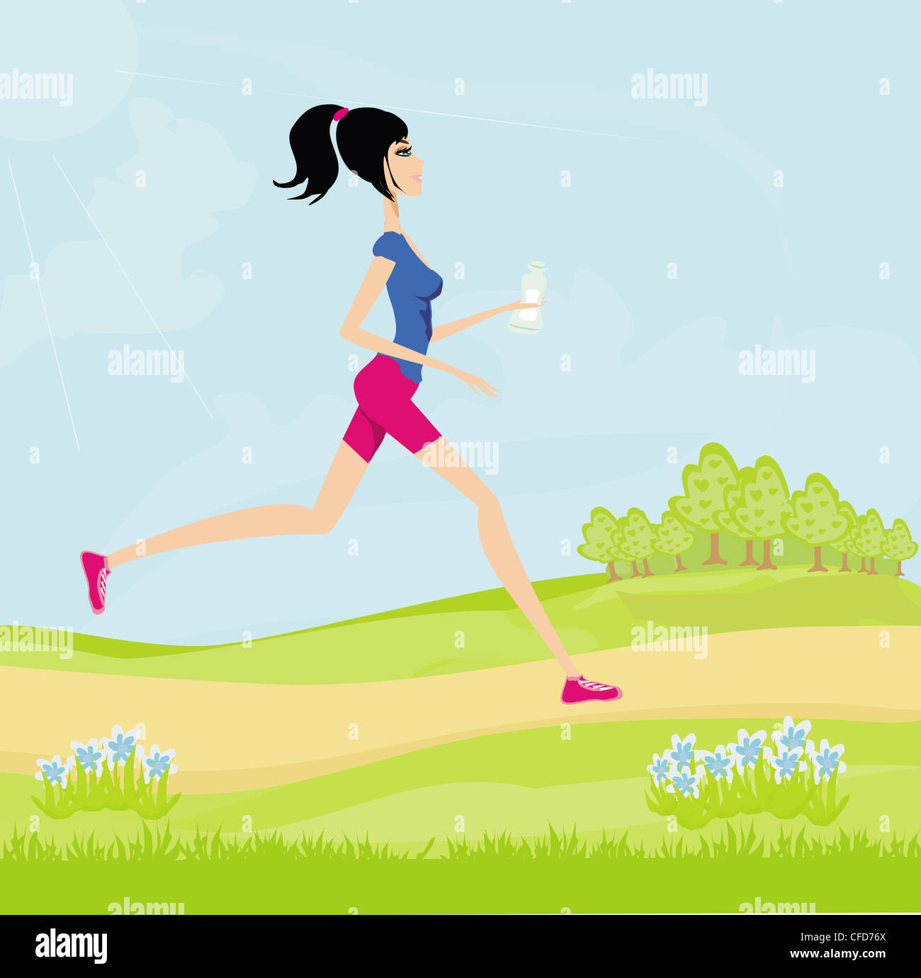 Ragazza per fare jogging in estate Immagini Stock