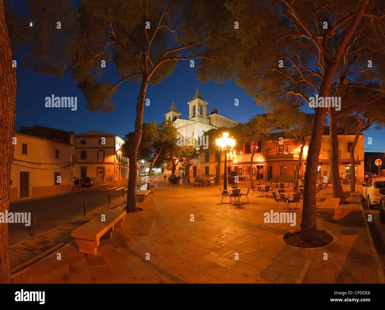 Placa San Jose, quadrato, S Alqueria Blanca, Maiorca, isole Baleari, Spagna, Europa Immagini Stock