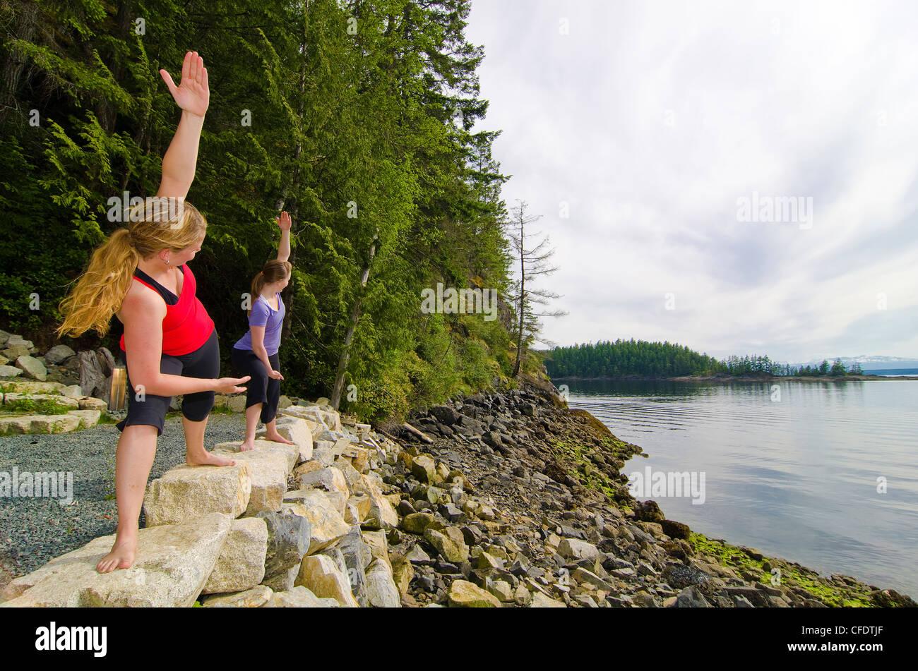 Due giovani femmine pratica yogoverlooking Immagini Stock